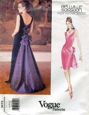 Vogue 1672 Evening Dress w/Laced Back Bellville Sassoon 8-10-12 Sewing Pattern