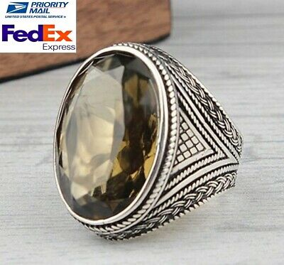 Turkish 925 Sterling Silver green smoky peridot stone Mens ring ALL SİZE us 0