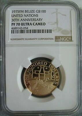 Belize 1975 FM Gold 100 Dollars NGC PF-70 Ul. Cameo 30th Anniv. United Nations