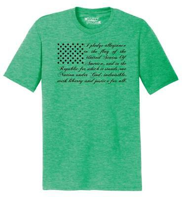 Mens Pledge of Allegiance American Flag Tri-Blend Tee Usa American Pride Shirt