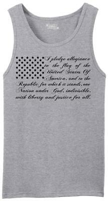 Mens Pledge of Allegiance American Flag Tank Top Usa American Pride  Shirt