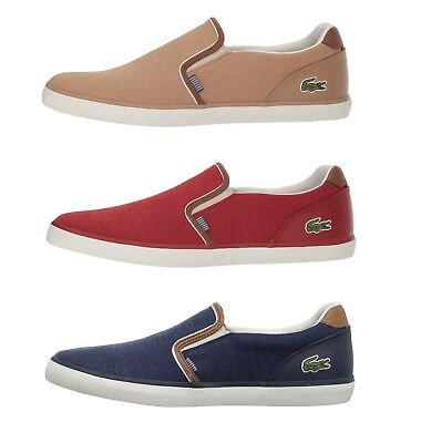fa7f866c03c5b Lacoste Jouer 318 1 Men s Casual Slip on Croc Logo Canvas Loafer Shoes  Sneakers