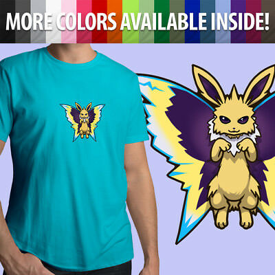 f124a266 Jolteon Butterfly Kawaii Electric Eevee Pokemon Fun Unisex Mens Tee Crew T- Shirt