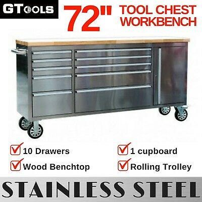 Garage Storage Workbench Tool Chest with Rolling Trolley Cabinet Tool Box