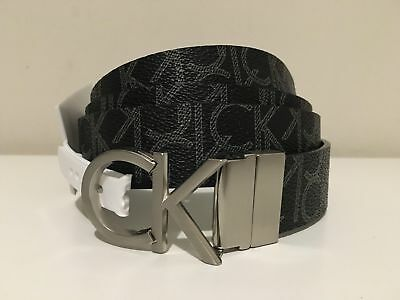 Calvin Klein Women's Twist Reversible Ck Buckle Black Belt Size S/m/l/xl