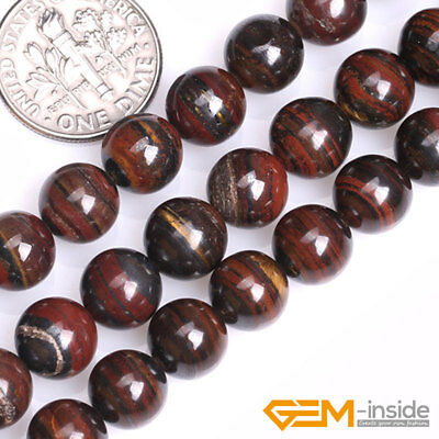 Natural Iron Tigers Eye Gemstone Round Loose Spacer Beads For Jewelry Making 15""