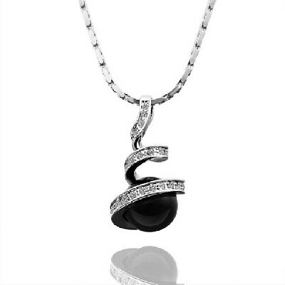 Fashion Women Crystal Black Bead Pendant Necklace Statement Jewelry