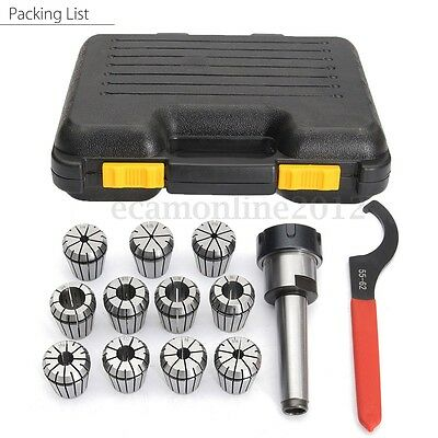 Precision ER32 Collet Set MT3 Shank Chuck & Spanner With Box For Milling Machine
