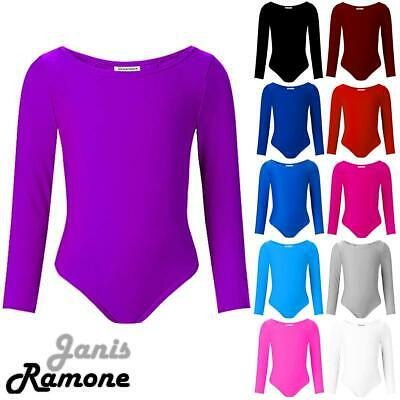 New Girls Kids Long Sleeve Sports Dance Ballet Gymnastics Bodysuit Leotard Top