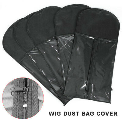 Wig Hangers Hair Extension Carrier Storage Case Wig Stands Dust Proof Bag Black