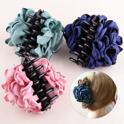 Fabric Rose Flower Large Hair Clamp Claw Clip Accessories Gift Fashionable Women