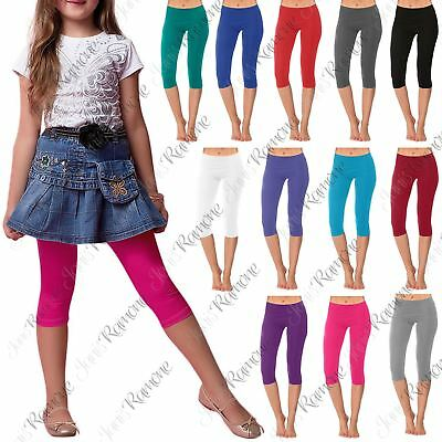 New Girls Kids Gymnastics Dance Cotton Plain Cropped 3/4 Leggings Capri Pants