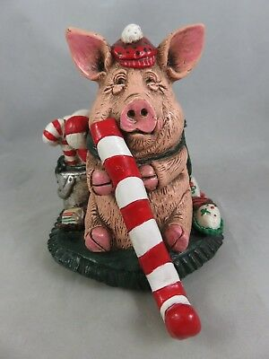 Telle M. Stein - Snow Piggy - Pig Golfer Golf Figurine Christmas Stocking Holder