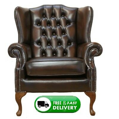 Brand New Chesterfield Mallory High Back Wing Chair Handmade In Antique Leather