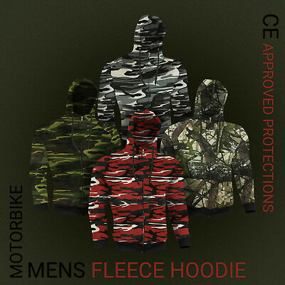 Camouflage Mens Motorbike Hoodie Motorcycle Clothing Removable CE Armor Jacket