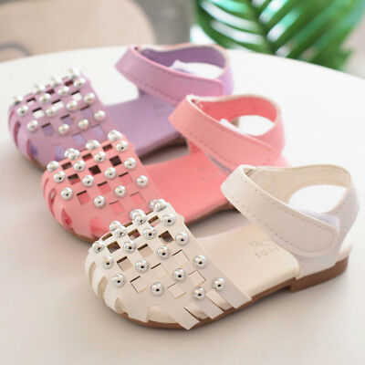 Infant Baby Girls Hollow Anti-slip Shoes Sole Pearl Single Sneaker Delicate UK