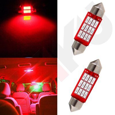 2x Car LED Interior Festoon Red 4014 12SMD Dome Map Trunk Lamp 36mm Light bulbs