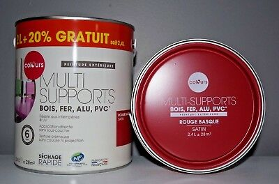 "Peinture Multi supports ""Colours"" Rouge basque 2,4 L"