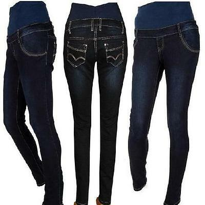Maternity Pregnancy Navy Blue Skinny Jeans Trousers size UK  8 10 12 14 16