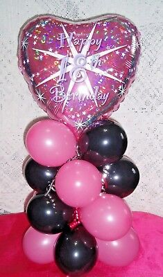 AGE 18 FOIL BALLOON 18th BIRTHDAY HEART TABLE DISPLAY AIRFILL