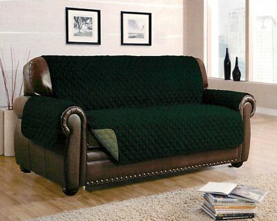 Reversible Furniture Protector Quilted Green Slipcover Sofa Love