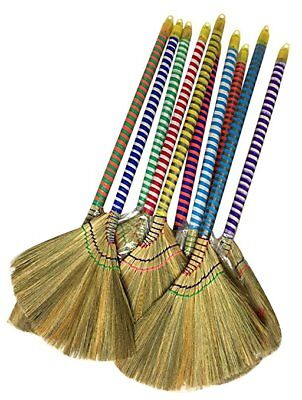 """Vietnam Broom  Hand Made Straw Soft with Colored Handle 12"""" Head Width, 38"""" Long"""