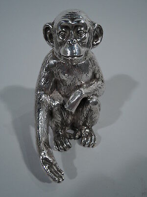 Antique Box - Friendly Monkey Chimp - Primate Pal - German 800 Silver