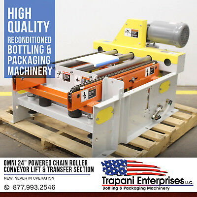 """Omni 24"""" Powered Chain Roller Conveyor Lift & Transfer Section Unused 220/460"""