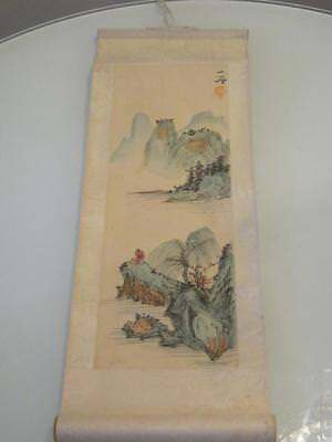 Stunning Chinese Watercolour Painting On Scroll