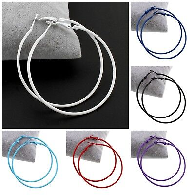 Pair of bright colour painted stainless steel fashion plain hoop earrings 60mm