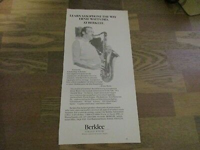 Berklee College Of Music - Ernie Watts 1985 Print Ad