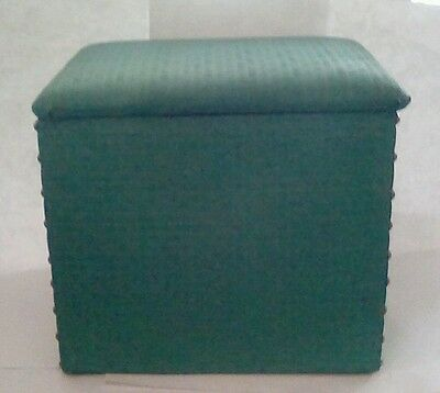 Mid Century Green Vinyl Small Storage Box Trunk Hamper Footstool with Lid
