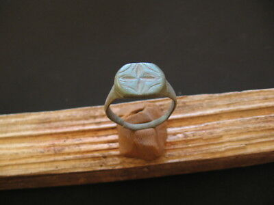 Stylized Cross Ancient Celtic Engraved Bronze Finger Ring 200-50 B.c.