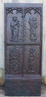 Medieval French Iron Ecclesiastical Panel, Inglenook FireBack