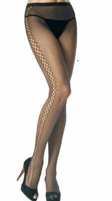 LOT OF X 6  Leg Avenue Seamless Fishnet Pantyhose with diamond net up STYLE 9053