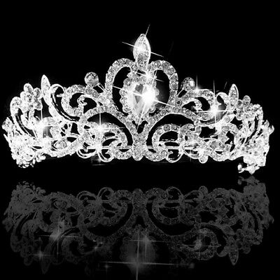 AU_ Women's Wedding Bridal Princess Rhinestone Prom Hair Tiara Crown Headband Ea