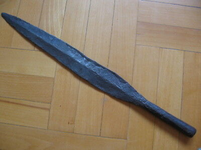 LONG SPEARHEAD HALLSTTAT CULTURE ANCIENT ILLYRIAN IRON WEAPON 800-600 BC. 480 mm