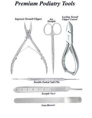 Podiatry Chiropody Instruments Ingrown Toe Nail Nipper Smooth Handle curved Set