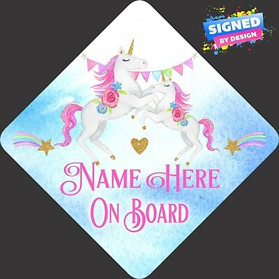 Personalised Unicorns Baby Child/Baby on Board Car Sign New ~ Pastel Pin & Blue