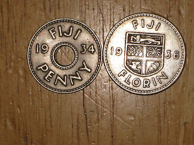 Fiji 1934 Penny and 1936 silver Florin coin lot Very Fine nice