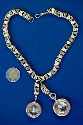 "Antique 19th Century Victorian Double ""Celebration of Love"" with Gold Necklace"