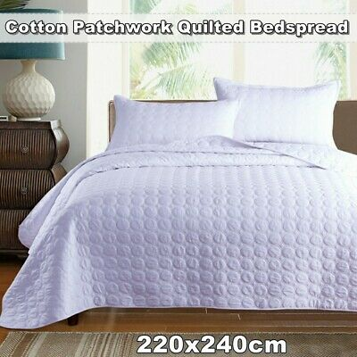 Patchwork Quilted Bedspread Coverlet Throw Rug Queen/King Size Pillowcase Cotton