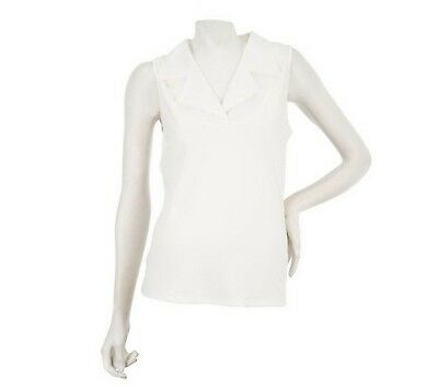 Kathleen Kirkwood Dictrac-Ease Woven Notch Collar Camisole Pearl XL NEW A224161