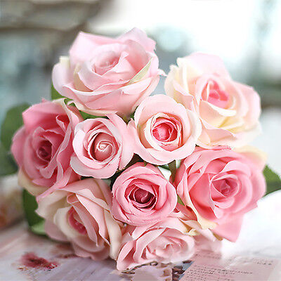 AU_ 1 Bouquet 9 Heads Artificial Rose Wedding Party Bride Home Decor Flower Good