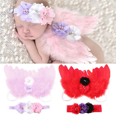 AU_ Newborn Baby Angel Feather Wings Flower Headband Photography Prop Outfit Gra