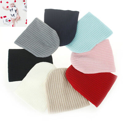 AU_ Infant Kids Newborn Baby Winter Warm Ribbed Beanie Knitted Hat Casual Cap Ch