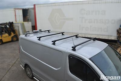 To Fit 2016+ Fiat Talento 4 Roof Metal Black Rack Bars Rails + Load Stops