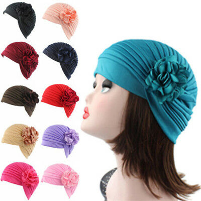 AU_ Women's Stretch Flower Turban Hat Chemo Cap Hair Loss Scarf Headwear Salable