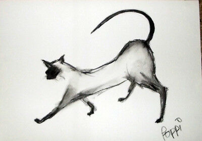 ORIGINAL ART DRAWING * Charcoal on paper * SIAMESE CAT   * Art By Poppi