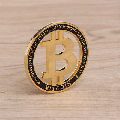 1Pc Bitcoin Commemorative Collectors Coin Bit Coin Hollow Gold Plated